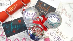 Baubles and brush calligraphy